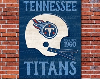 Tennessee Titans - Vintage Helmet - Art Print - Perfect for Mancave