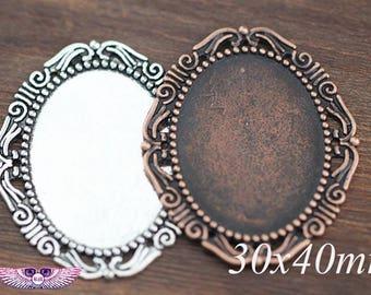 30x40mm Oval Glass Photo Pendant Setting, Antique Copper Pendant Blank, Photo Frame PC70604