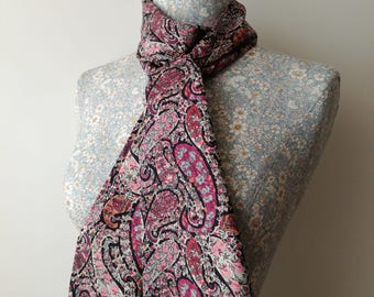 Liberty of London Classic Paisley Skinny Scarf Tie Thin Belt Headscarf Long Summery Cotton