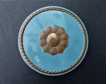 REX FIFTH AVENUE  - Vintage 1940s Brass & Blue Enamel Powder Compact and Powder Puff