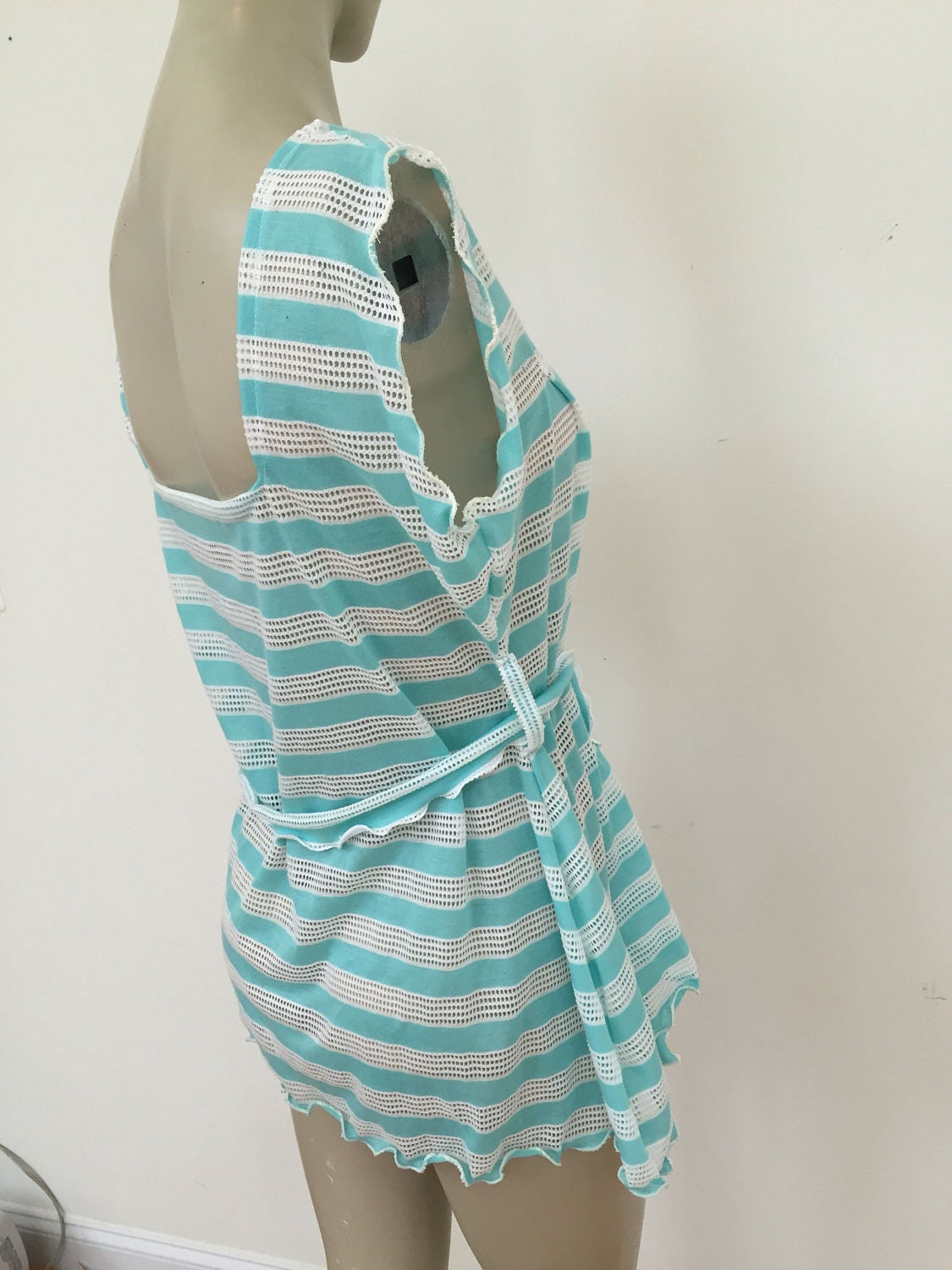 Turquoise and White Crochet Tank Top. Jersey Knit Summer Beach ...