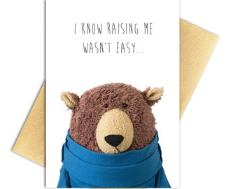 "Funny Bear Mother's Day/Father's Day Card - Funny Recycled Paper Greeting Card - 100% PCW Recycled Paper, A7 5"" x 7"""