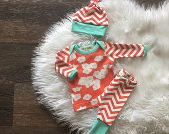 Newborn girl coming home outfit • Organic baby clothes • take home outfit • coral mint poppies • hospital outfit • baby girl clothes