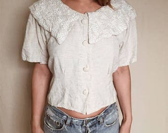 BOHO LINEN BLOUSE // Embroidered Peter Pan Collar Top Boho Festival Boho Chic 90's Grunge Babydoll Top Button Front Blouse Crop Top