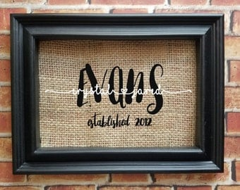 Last Name Burlap Frame - Last Name Home Decor - Wedding Gift - Engagement Gift - Couple's Gift - Bridal Shower Gift - Picture Frame