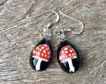 1 Pair - Custom Made Red Magic Mushroom hanging earrings on .925 Sterling Silver ear wires