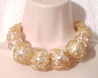 SALE Huge Statement Faux Pearl Caged Gold Tone Necklace Choker