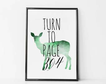 Harry Potter Print - Turn To Page 394 - Snape Quote - Alan Rickman - Harry Potter Poster - Harry Potter Wall Art - Harry Potter Art - Doe