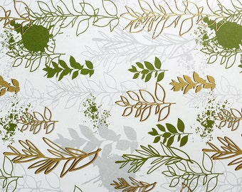 Spring - Wrapping Paper/Gold Embossed/Sheet Style/Cute/Pretty/Unique/Kawaii/Holiday/Fancy/Wedding/Gift Wrap/Fun/Elegant/Occasion