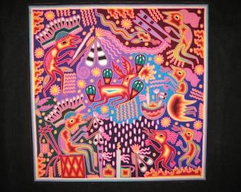Sensational Peyote Deer 24'' x 24'' Huichol Indian Yarn Painting Mexican Folk Art