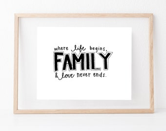 Hand lettered home wall art,motivational living room print, typography family gift,mother sister holiday present,bedroom home decor quote