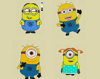 4 embroidery designs Minions pes hus jef format file