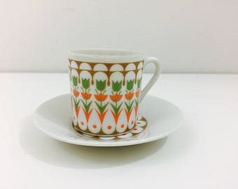 Mod Teacup w/ Saucer- Fine China from Japan