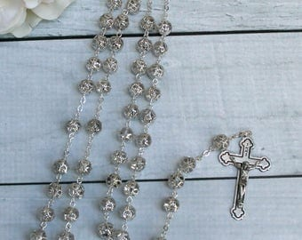 FAST SHIPPING!! Handcrafted Beautiful Silver Rosary Imported