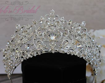 FAST Shipping!!!  Silver Swarovski Tiara,  CristalTiara ,Wedding Tiara ,Crown , Princess Tiara, Quinceanera, Cristal Headpiece