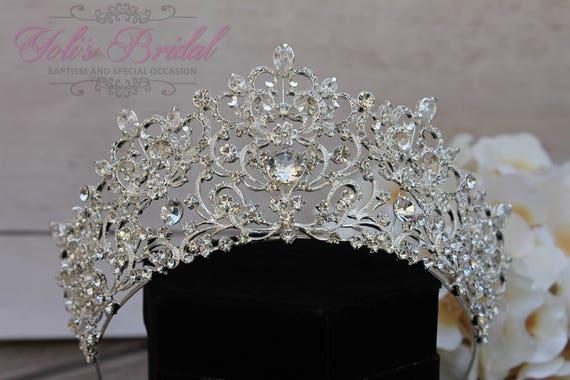 FAST Shipping!!!  Silver Swarovski Tiara,  CristalTiara ,Wedding Tiara ,Crown , Princess Tiara, Quinceanera, Cristal Headpiece