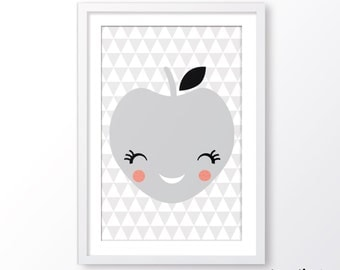 kids poster,scandinavian style,apple kids poster,kids room decor,baby wall art,nursery poster, nursery decor,playroom decor,instant download