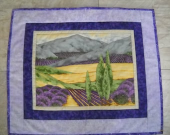 """Quilted wall hanging//Fabric wall hanging//Lavender fields wall hanging//Purple, green wall hanging//22 x 18"""" quilted wall hanging"""