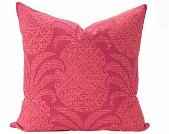 Pineapple pillow cover, Coral and Dark Pink Pillow - Hawaiian Pillow - Tropical Pillow - Madcap Cottage fabric - Coral pillow