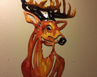 Hand Painted Deer Head