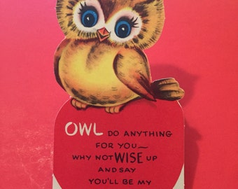 Vintage Valentines Card / Anthropomorphic Owl / Fun Pun / Forget Me Not American Greetings
