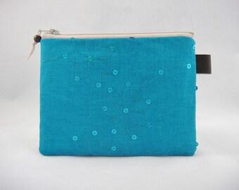 Teal blue zipper pouch, Linen, Small zipper pouch, Coin purse, Period pad pouch