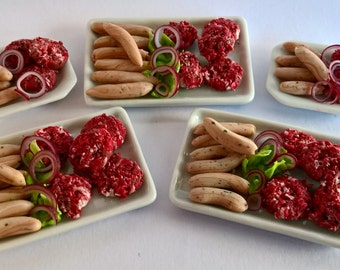 Dolls House Food:  Miniature Food - Ready To Cook  RAW Burgers and Sausages - BBQ - Barbeque Meat OOAK