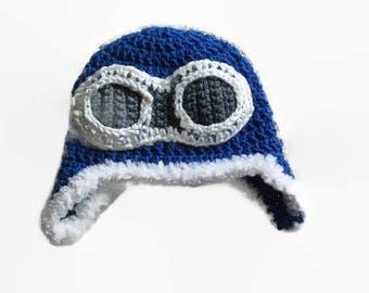 Crochet Baby Hats - Handmade Hats for Baby - Pilot Hat - Crochet Aviator Hat - Cute Baby Hats - Crochet Newborn Hats / Baby Aviator Hat