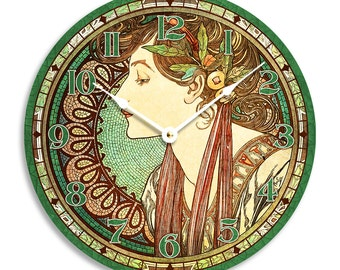 Alfons Mucha art nouveau woman in green10 inch wall clock. Shades of green colors. CL3006