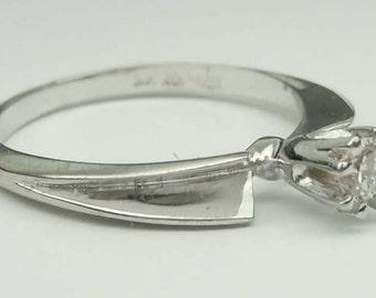 Vintage modern 14kt White Gold Diamond Engagement Ring