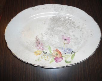 Antiques, Large Platter, Stoneware Dish, Floral Plate, Gilded Edge Ceramic Serving Platter, French Cottage, Country Cottage, Shabby Chic