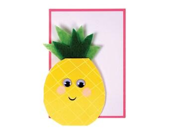 Pineapple Felt Card - Blank Card