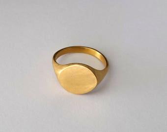 Goldring matt  Minimalist gold ring | Etsy