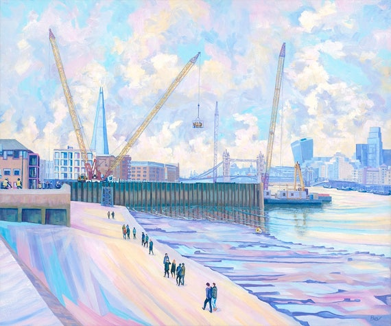 Timelines, original painting in acrylic of Tower Bridge and cranes from the Thames path