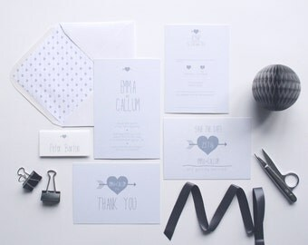 Squiggles Wedding Invitation Set. Modern Wedding Invites. Quirky Wedding Invitations. Wedding Invitation Sample
