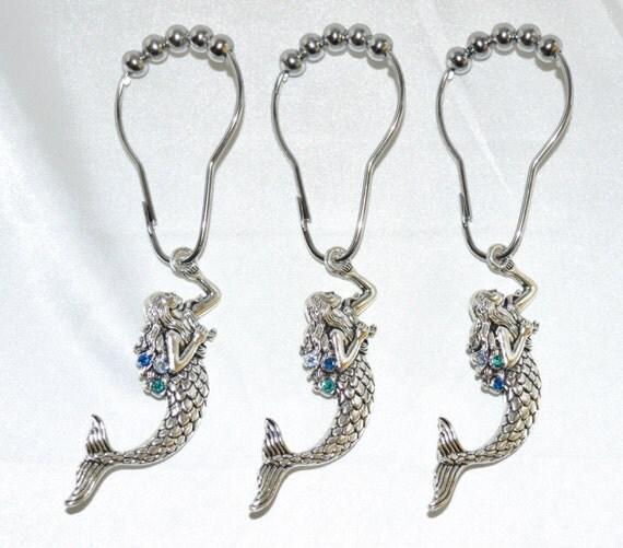 Mermaid Shower Curtain HooksSilver w/Swarovski CrystalsColor