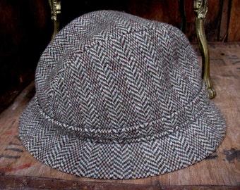 Kangol Hat, Kangol Trilby, Vintage Kangol, Vintage Hat, Brown Trilby, Herringbone Trilby, 1960s Trilby, 1960s Mens Hat, 1960s Kangol