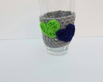 Seattle Coffee Cozy/ Grey Cozy with Green and Blue Crocheted Hearts