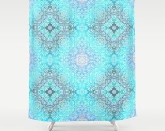 "Shower Curtain - 'Lace' - 71""x74"", Custom, Home, Bathroom, Bath, Dorm, Girl, Christmas, Boho, Gift, Abstract, Mandala, Turquoise, Blue"
