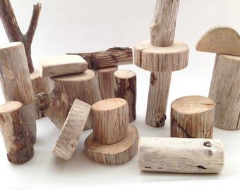 Driftwood Blocks - 20 pcs, Waldorf Tree Blocks, Building/ Stacking Blocks, Branch Blocks, with cotton bag