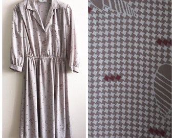 80s JONATHAN MARTIN DRESS / vintage medium large houndstooth taupe tan print spring summer fall autumn office work shift collared