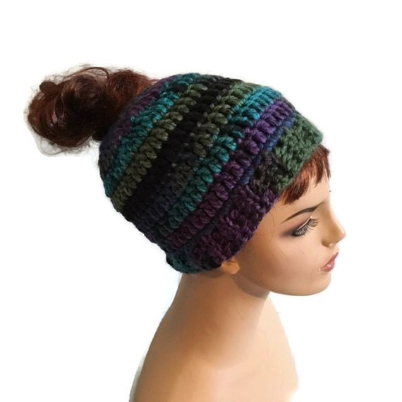 Crochet Bun Hat : Crochet Chunky Messy Bun Hat Pony Tail Hat Jogging Hat Running Hat ...