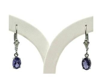 Sterling Silver Iolite Lever Back Earrings