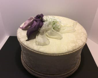 Vintage Wedding Card Holder, Keepsake Wedding Card Box, Lilac and White Color Theme, Handmade Silk Flowers  Pearls and Lace Shabby Chic
