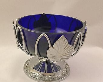 Vintage Cobalt Blue Glass Bowl, Blue Glass Snack Bowl,Glass Trinket Bowl.