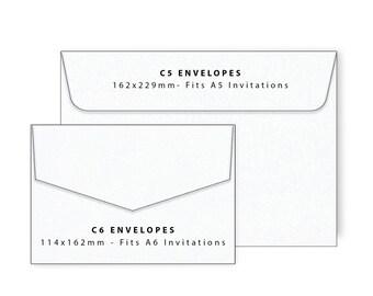 White Textured Envelopes - C5 & C6 - Wedding Quality, Linen (Blank)