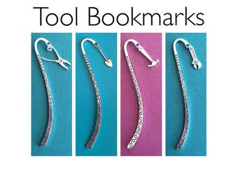 Bookmarks with Tools - Choice of 4 Designs: Plier, Shovel, Hammer, Wrench - Gifts for Handywoman Handyman Carpenter Plumber Shop Student Mar