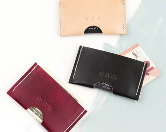 Personalised Card Holder, Leather Card Holder, Business Card Holder, Handmade Leather, Card Wallet, Veg Tan Leather, Gift, FREE UK Delivery