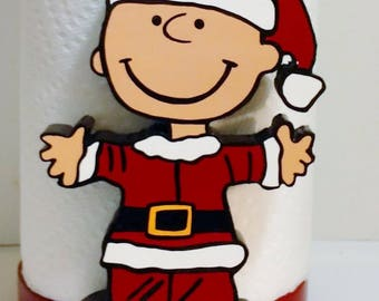 Charlie Brown Christmas Santa Wood Kitchen Countertop Paper Towel Holder Gift Present Decoration Decor FREE US SHIPPING
