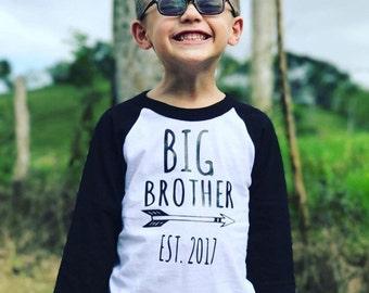 Big Brother Shirt-Kids Raglan Shirt-Free Shipping-Personalized Big Brother Shirt-Big Brother Shirt 3/4 Sleeve-Big Brother T Shirt-Raglan Tee